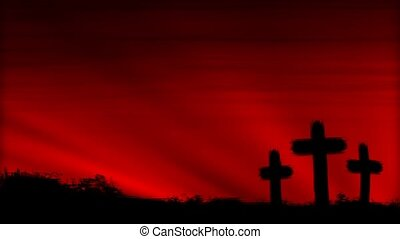 Crosses 3 Red HD Loop - Three crosses silhouetted by a...