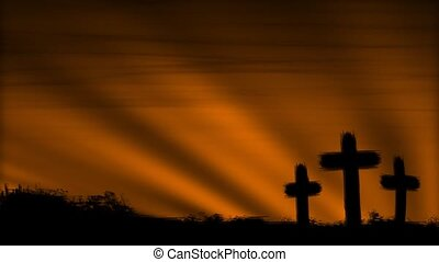 Crosses 3 Orange HD Loop - Three crosses silhouetted by a...