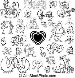cartoon valentines  set