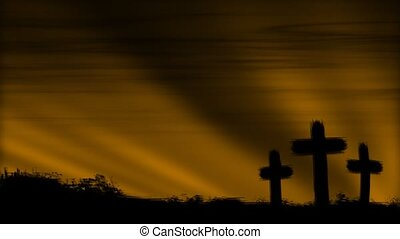 Crosses 3 Brown HD Loop - Three crosses silhouetted by a...