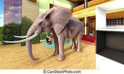Pink elephant in the living room 3d rendering - Elephant in...