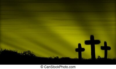 Crosses 3 Olive HD Loop - Three crosses silhouetted by a...