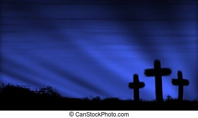 Crosses 3 Blue HD Loop - Three crosses silhouetted by a...