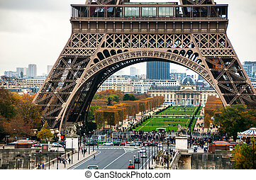 Paris, France. Close view of famous Eiffel Tower and Champ...