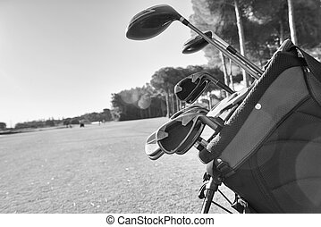 golf equipment - Close view of the golf equipment on the...