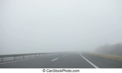 Car Fog Ride - Driving Car through the fog