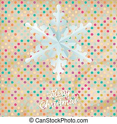 Christmas polka dot card with snowflake. EPS 10 vector file...