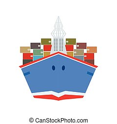 Delivery Service Company Large Cargo Ship Delivering...