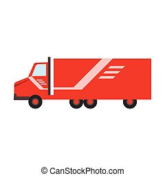 Delivery Service Company Red Long Distance Truck Delivering...
