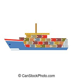 Delivery Service Company Large Cargo Ship Delivering Shipment Overseas View From The Side