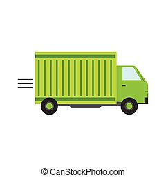 Delivery Service Company Green Long Distance Truck...