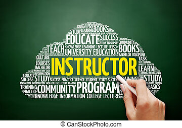 nuvem, instrutor, conceito, palavra, Educação