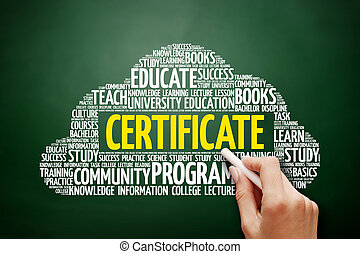 nuvem, conceito, palavra, Educação, certificado