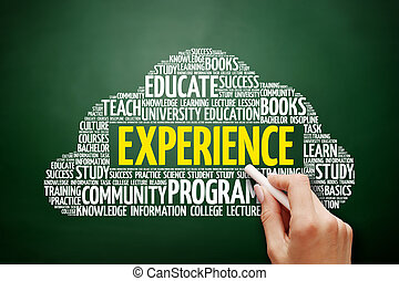 Experience word cloud, education concept