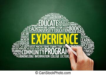 nuvem, conceito, palavra, Educação, experiência