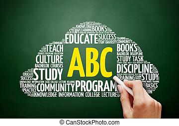 nuvem, conceito, palavra,  abc, Educação