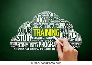 nuvem, treinamento, conceito, palavra, Educação