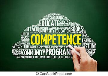 nuvem, conceito, palavra, competência, Educação
