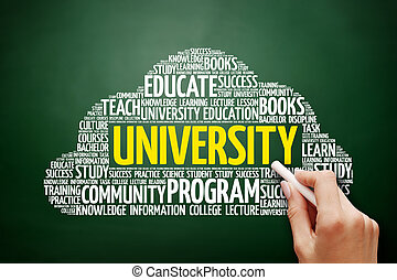 nuvem, universidade, conceito, palavra, Educação