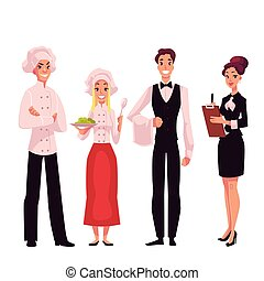 Cafe or restaurant team - chef, cook, waiter and manager