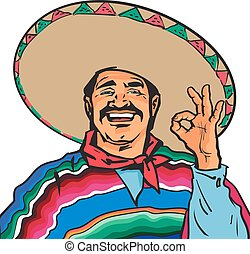 Smiling Mexican man in sombrero and poncho showing okey sign