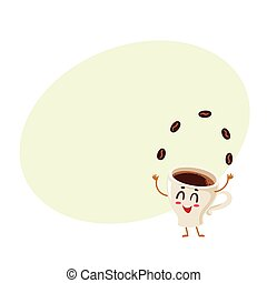 Funny energetic espresso cup character juggling coffee...