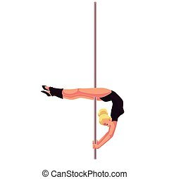 Young pole dance woman in black leotard doing crescent...