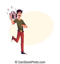 Young man dancing at party with tape recorder on shoulder