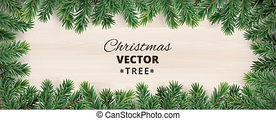 Banner with vector christmas tree branches on wooden...
