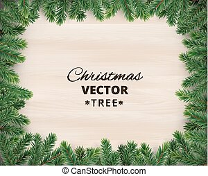 Christmas tree branches on wooden background, vector...
