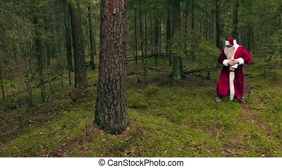 Tired Santa Claus near tree in woods