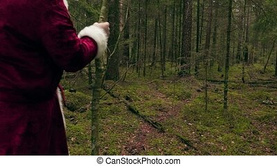 Santa Claus with gift bag walking away in forest
