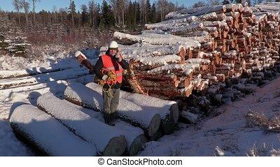 Lumberjack talking on smart phone near pile of logs in...