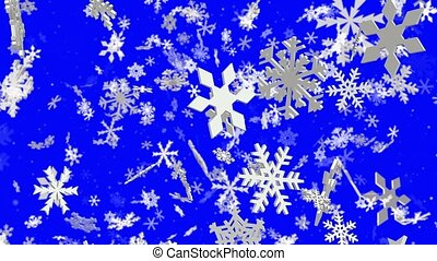 Slowly falling white snow flakes on blue