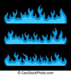 Blue Fire Burning Flames Set on a Black Background. Vector