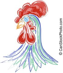 Vector illustration of watercolor rooster