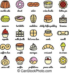 big line icon set of world best desserts and sweets