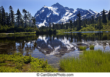 Reflection Lake Mount Shuksan Washington State - Reflection...