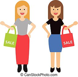 two happy women with shopping bags