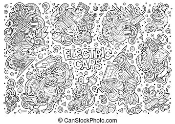 Line art vector doodle cartoon set of Electric cars objects...