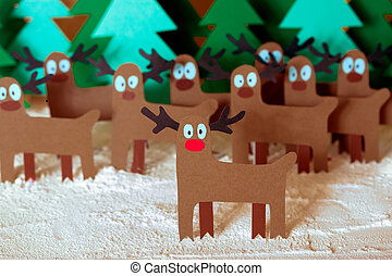 santa deer in forest - Team Reindeer Santa Claus standing in...