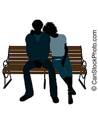 African American Couple Illustration Silhouette - African...
