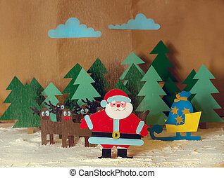 Santa with reindeer in the forest - Funny Santa cut from...
