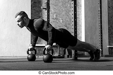 Good looking professional sportsman working out - Developing...