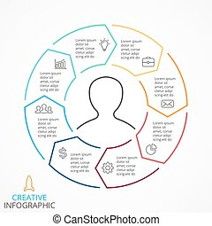 Vector circle arrows infographic, cycle diagram, linear graph, presentation chart. Business concept with 8 options, parts, steps, processes.