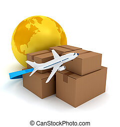 Cardboard packages with airplane over white