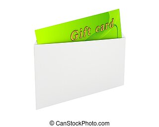 Gift card over white background 3d rendered image