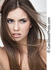 displeased woman portrait - strong facial expression concept...