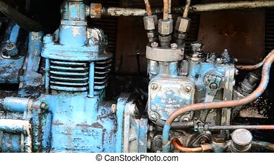 Diesel blue tractor truck engine detail
