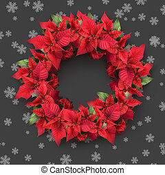 christmas wreath from poinsettia on grey background with...